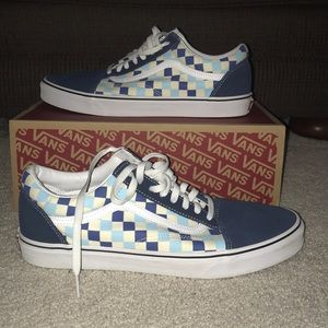 Vans old skool shoes Checkerboard Blue Topaz